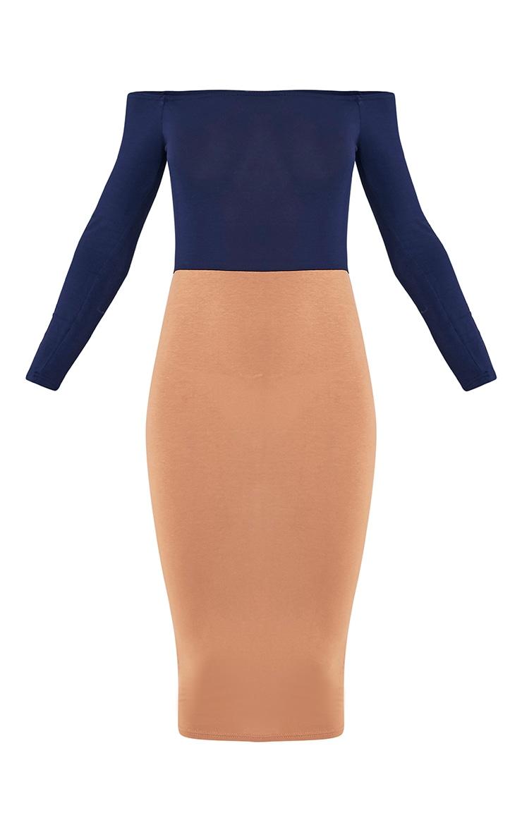 Kelisi Navy Bardot Contrast Jersey Midi Dress 3