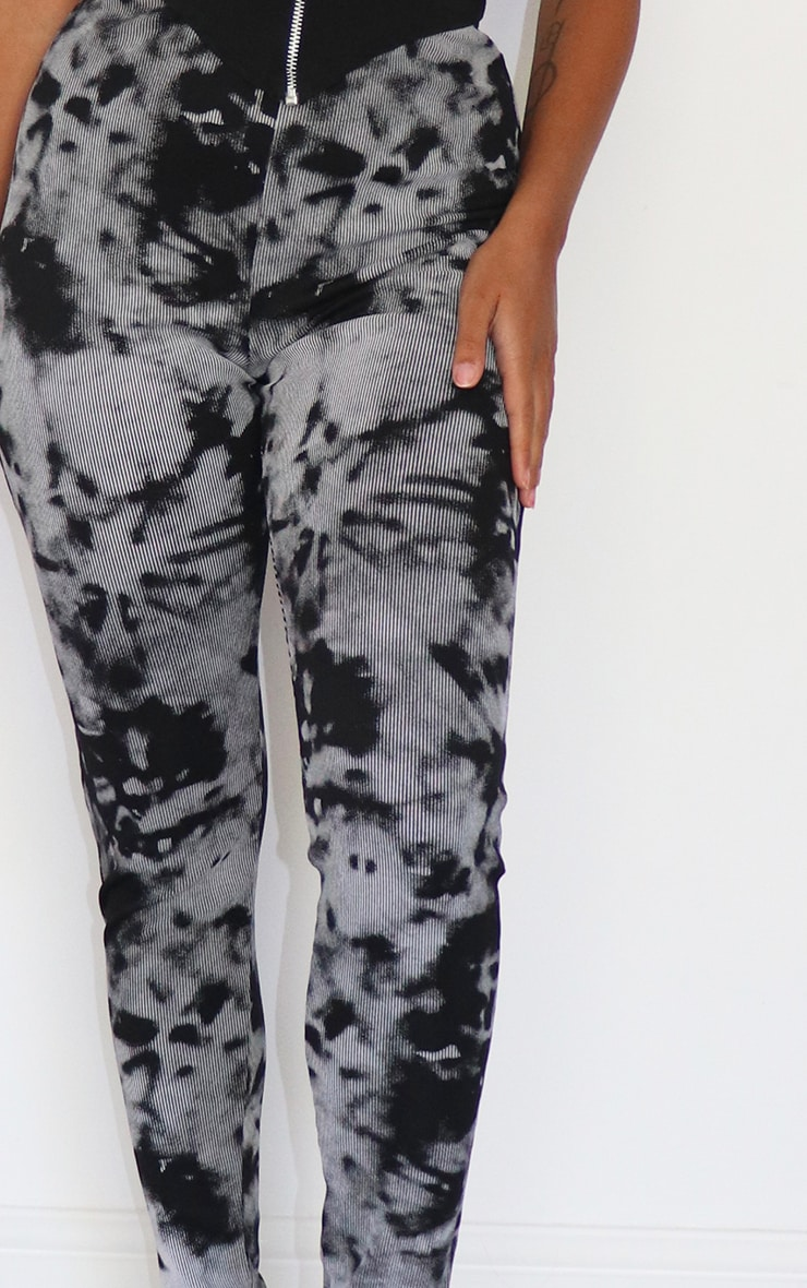 Petite Black Ribbed Tie Dye Split Hem Leggings 4