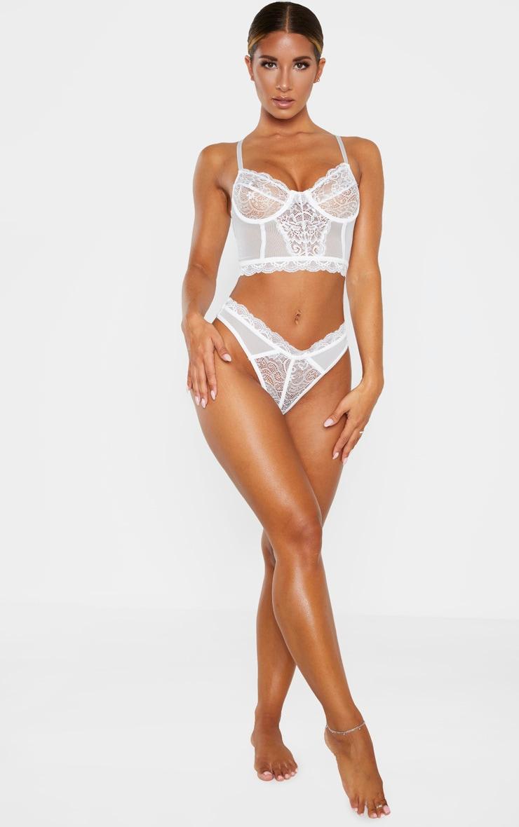 White Lace Mesh Thong 5