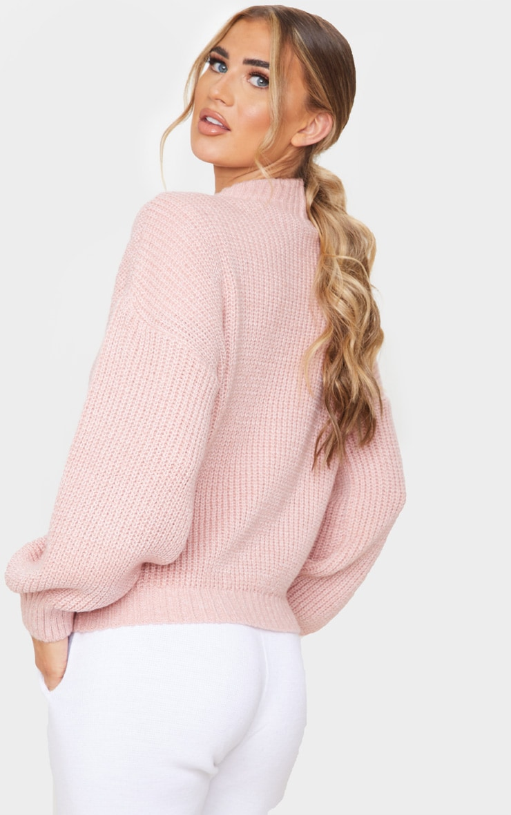 Dusty Pink Balloon Sleeve Fluffy Sweater 2