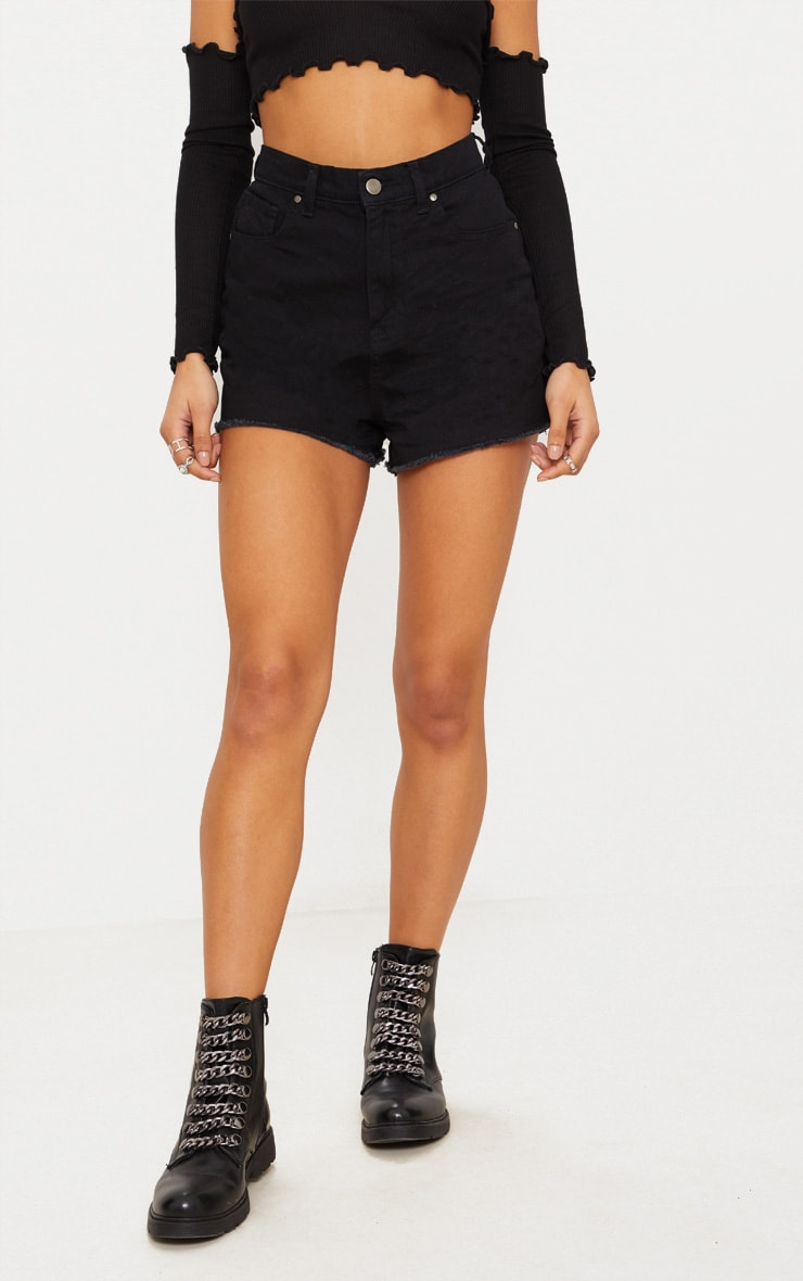 Black Shelby Bum Rip High Waisted Denim Short 2