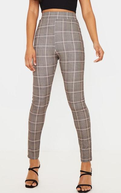 Stone Check Print Skinny Trouser