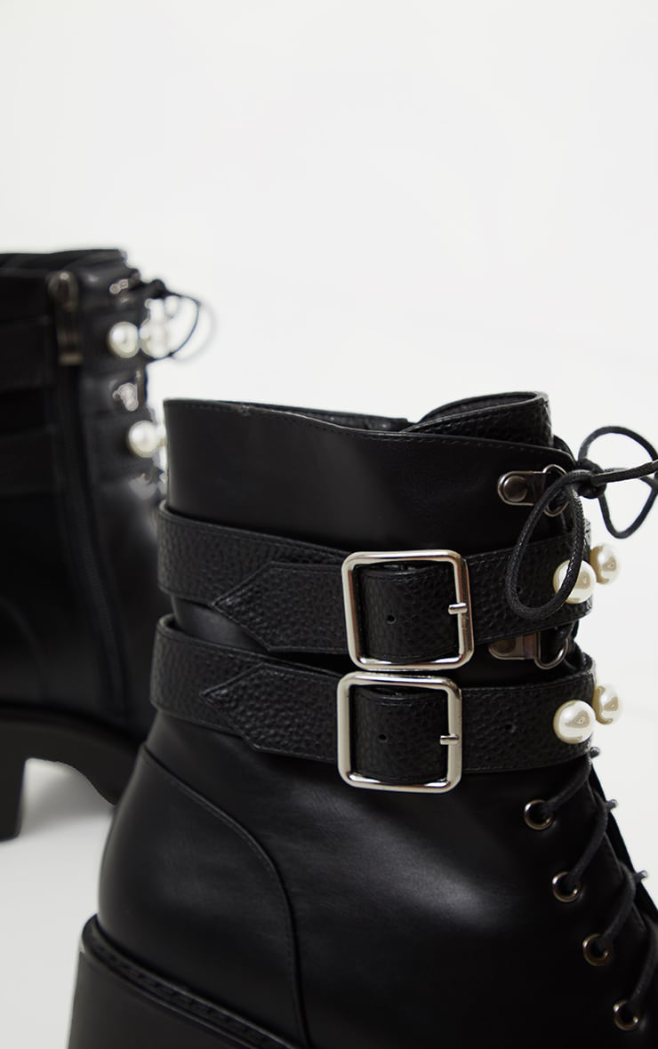 Black PU Pearl Trim Double Strap Biker Boot 4