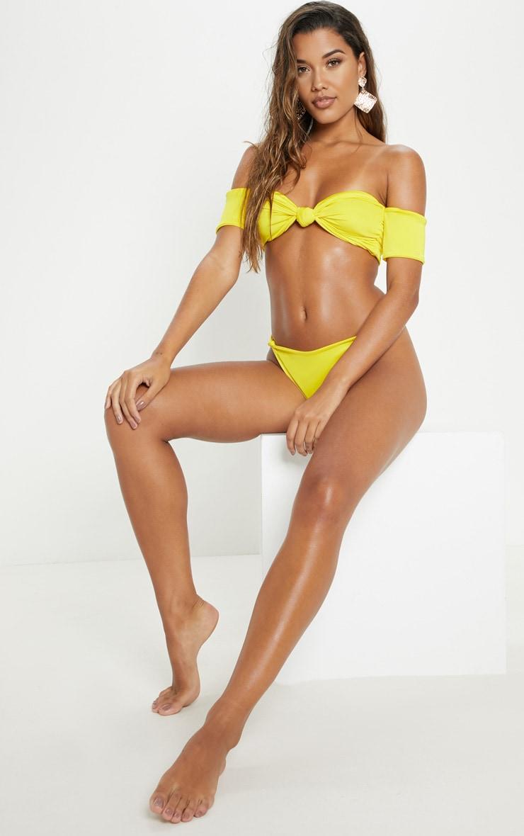 Yellow Bardot Knot Front Bikini Top 4