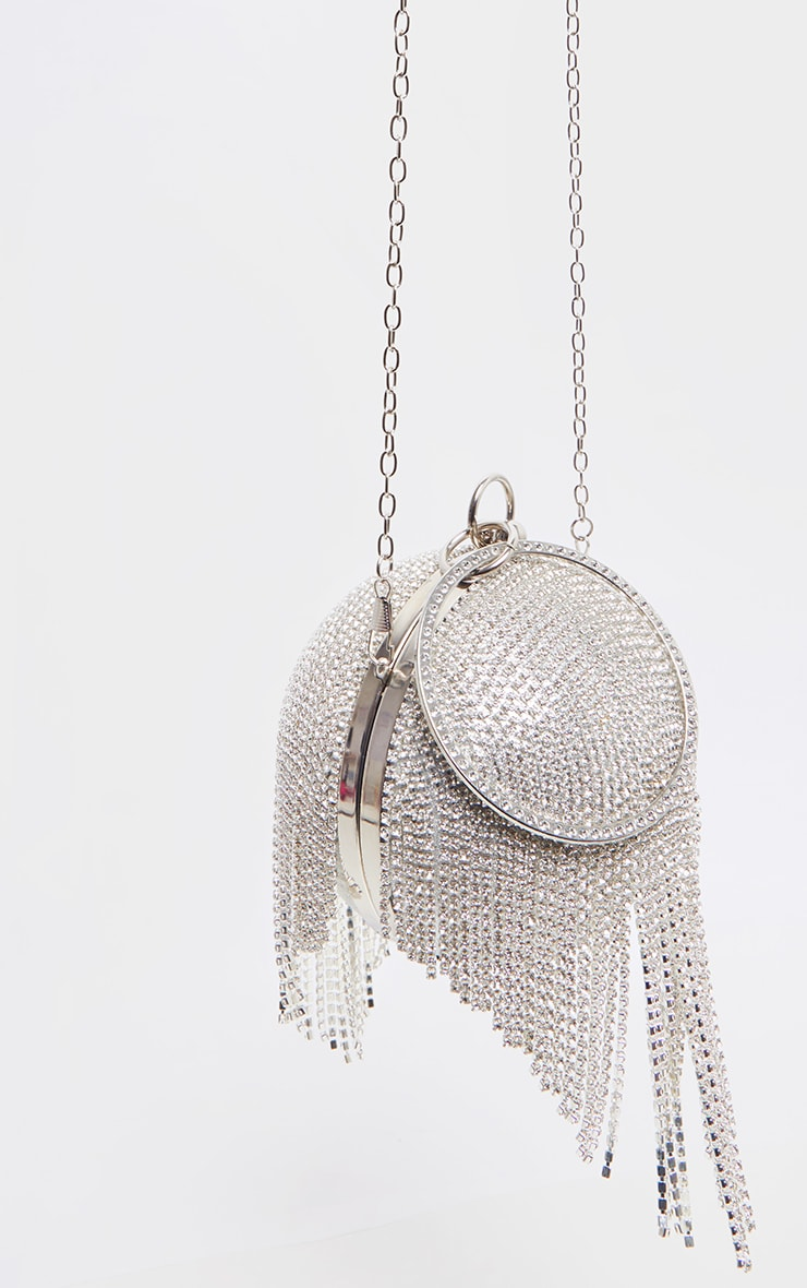Silver Diamante Tassel Sphere Clutch 2