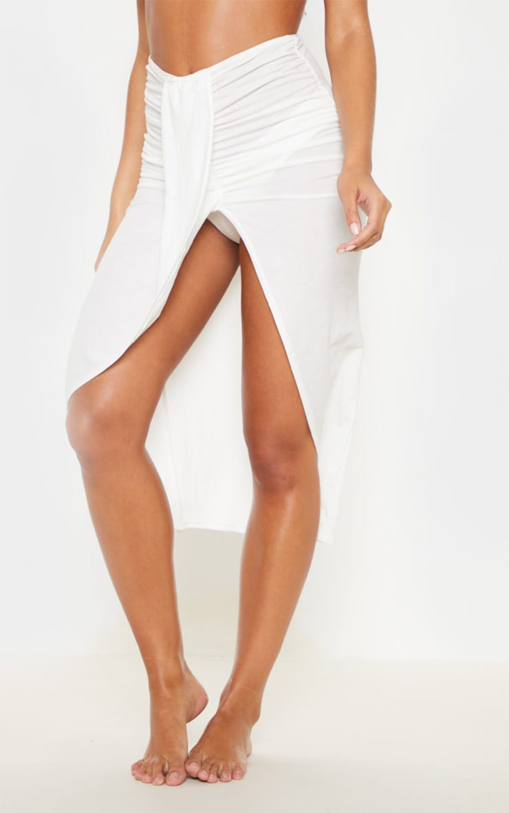 White Knot Front Wrapped Sarong 2