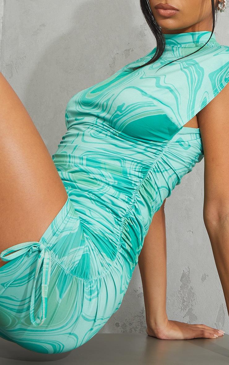 Green Swirl Print Slinky Sleeveless High Neck Ruched Bodycon Dress 4