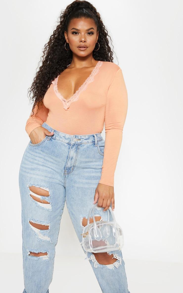 Plus Peach Lace Trim Plunge Long Sleeve Bodysuit  1