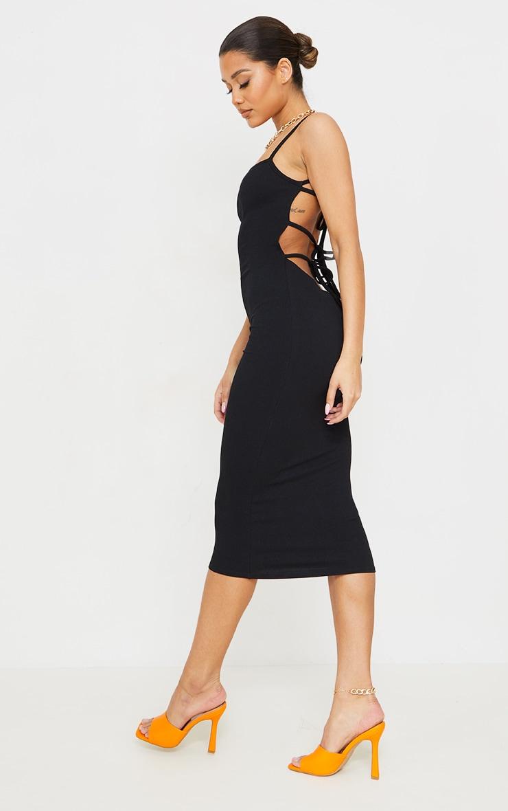 Black Ribbed Double Tie Open Back Midi Dress 3