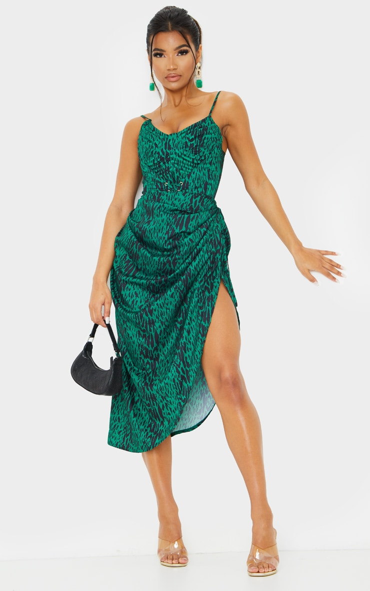 Green Leopard Print Ruched Tie Side Midi Skirt 1