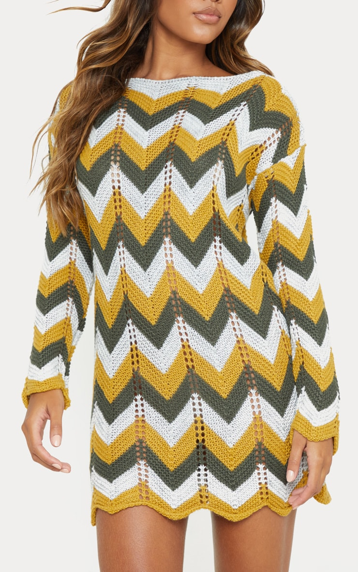 Multi Crochet Long Sleeve Jumper Dress 5