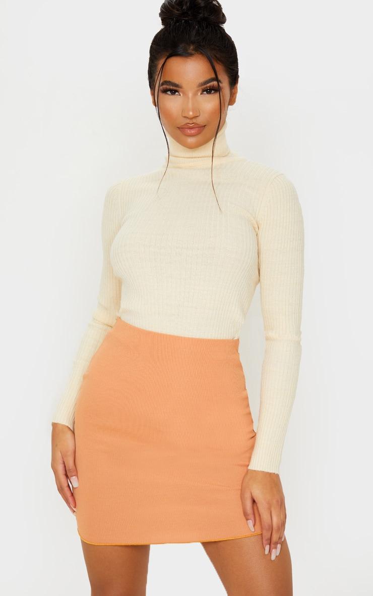 Camel Rib Lettuce Hem Mini Skirt 1