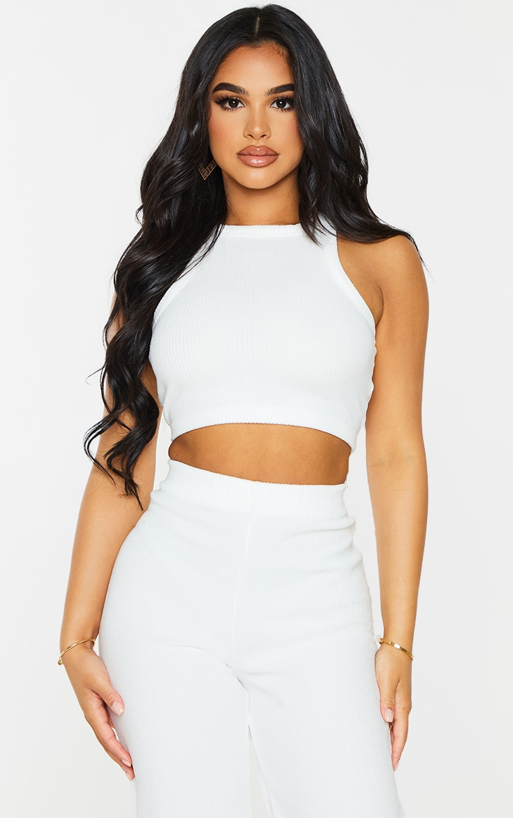 Petite Cream Towelling Rib Racer Neck Crop Top