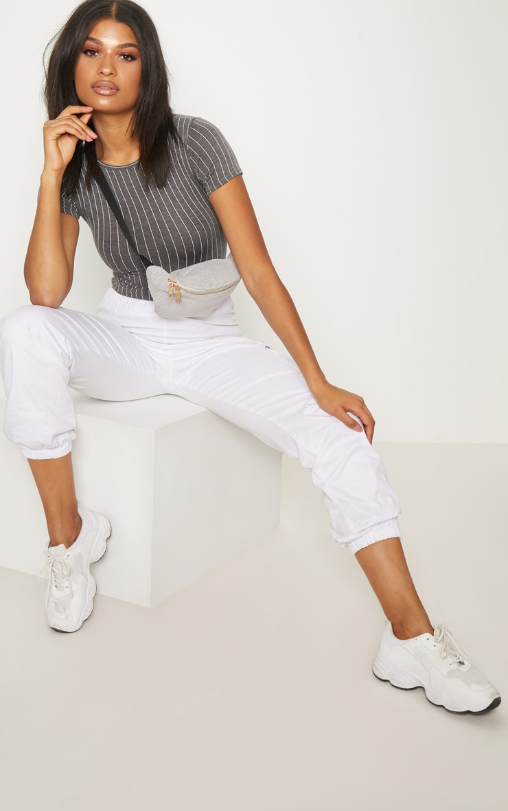 Charcoal Jersey Pinstripe Short Sleeve Bodysuit 3