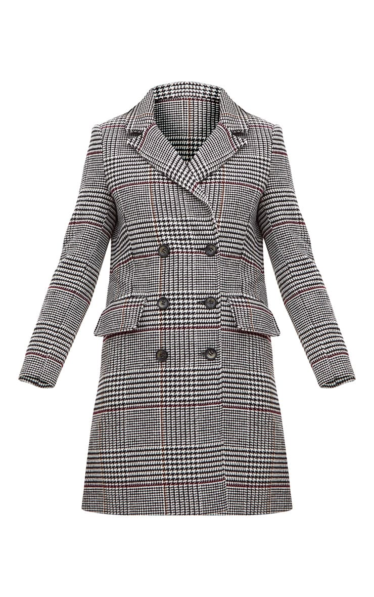 Grey Check Double Breasted Wool Coat 3
