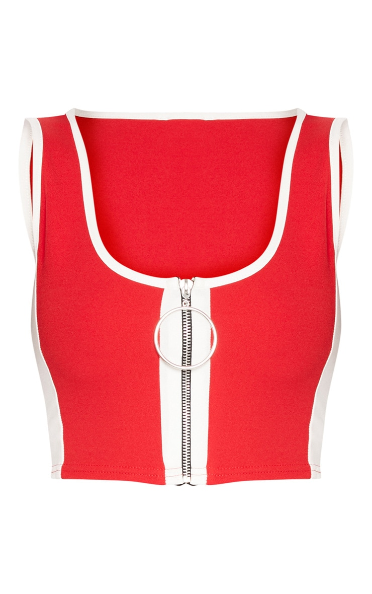 Red Contrast Panel Ring Pull Crop Top 3