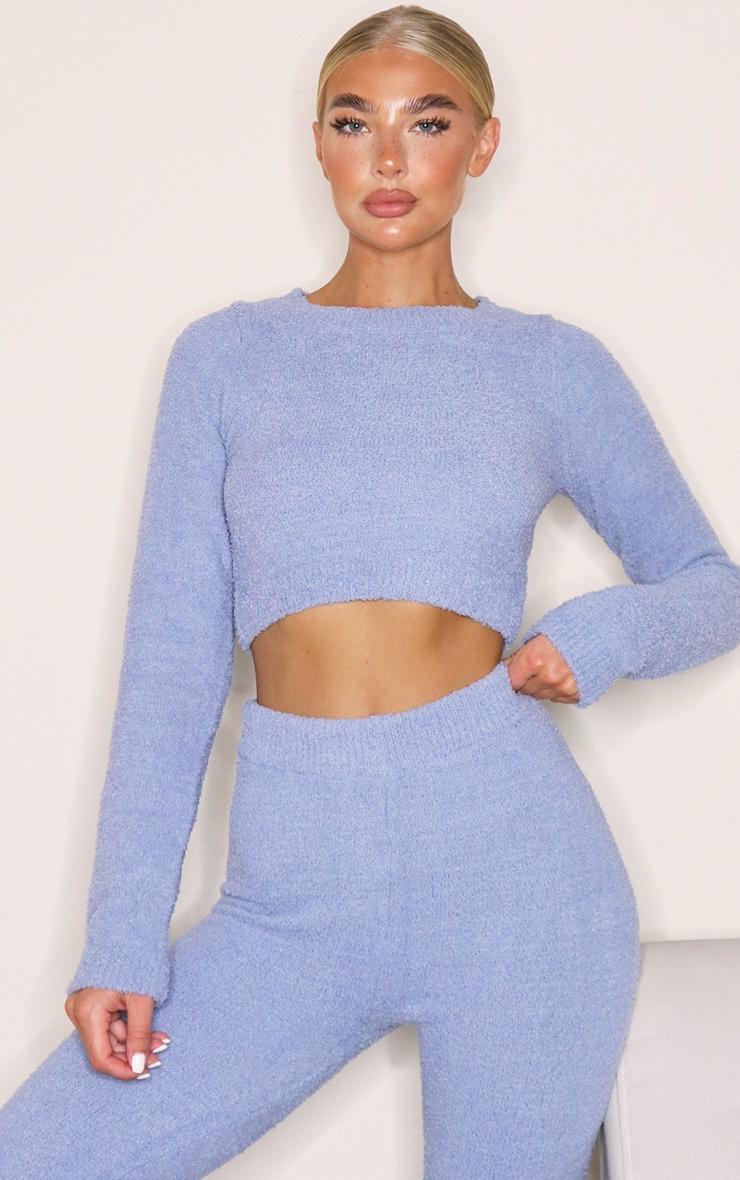 Blue Steel Chenille Long Sleeve Crop Sweater 1