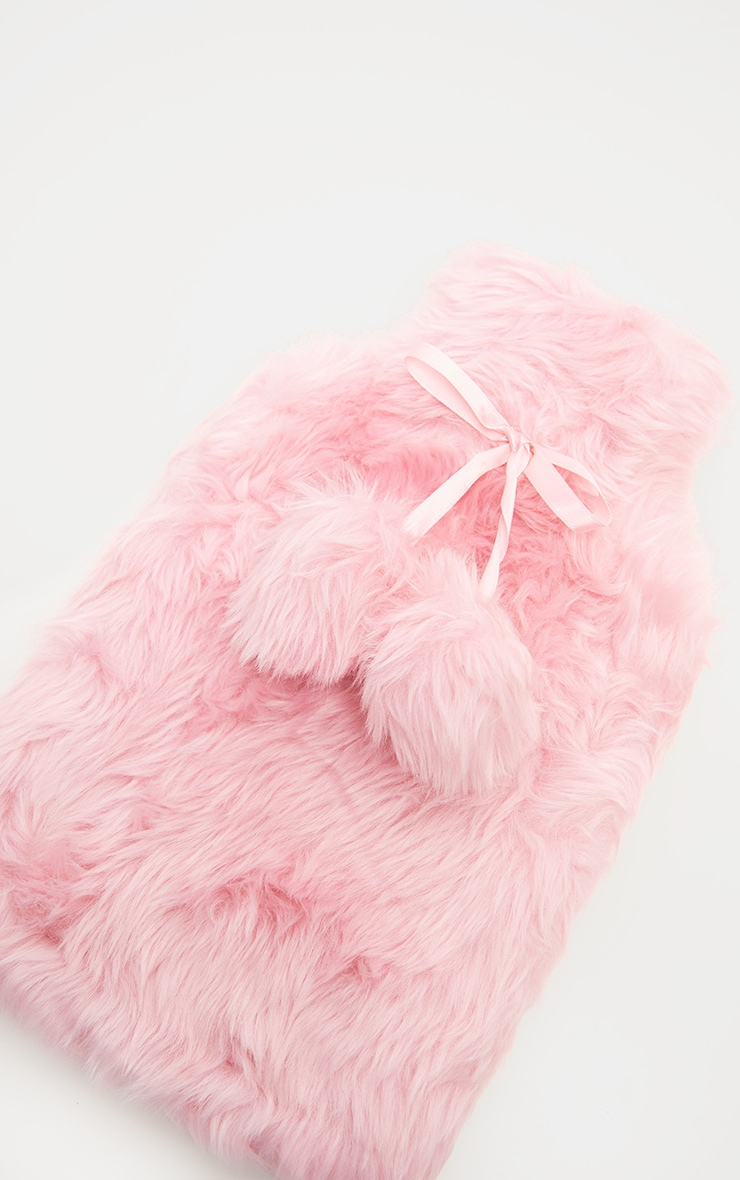 Pink Faux Fur Hot Water Bottle 2