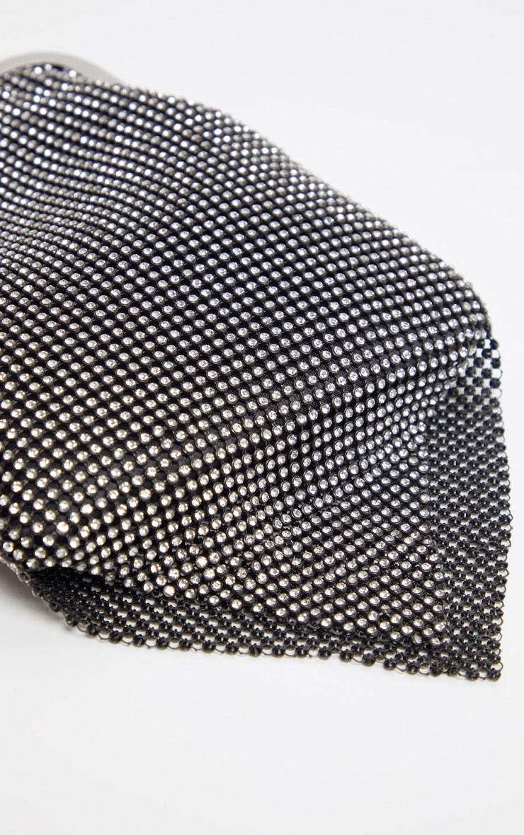 Black Diamante Ring Handle Grab Bag   3