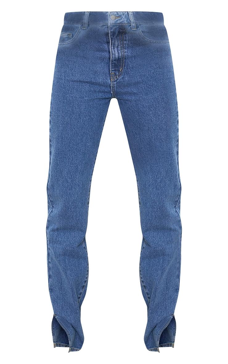 Tall Mid Blue Split Hem Jeans 5