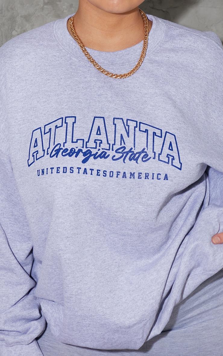 Plus Grey Atlanta Slogan Sweatshirt 4