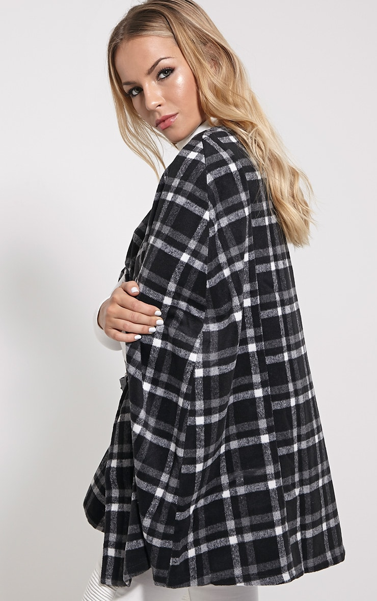 Justine Black Checked Wool Cape 4