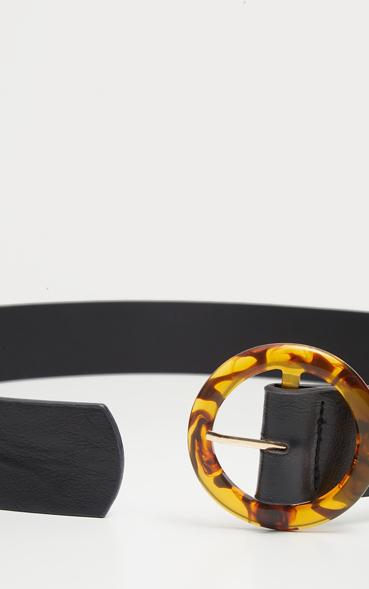 Black Round Tortoiseshell Buckle Belt 4