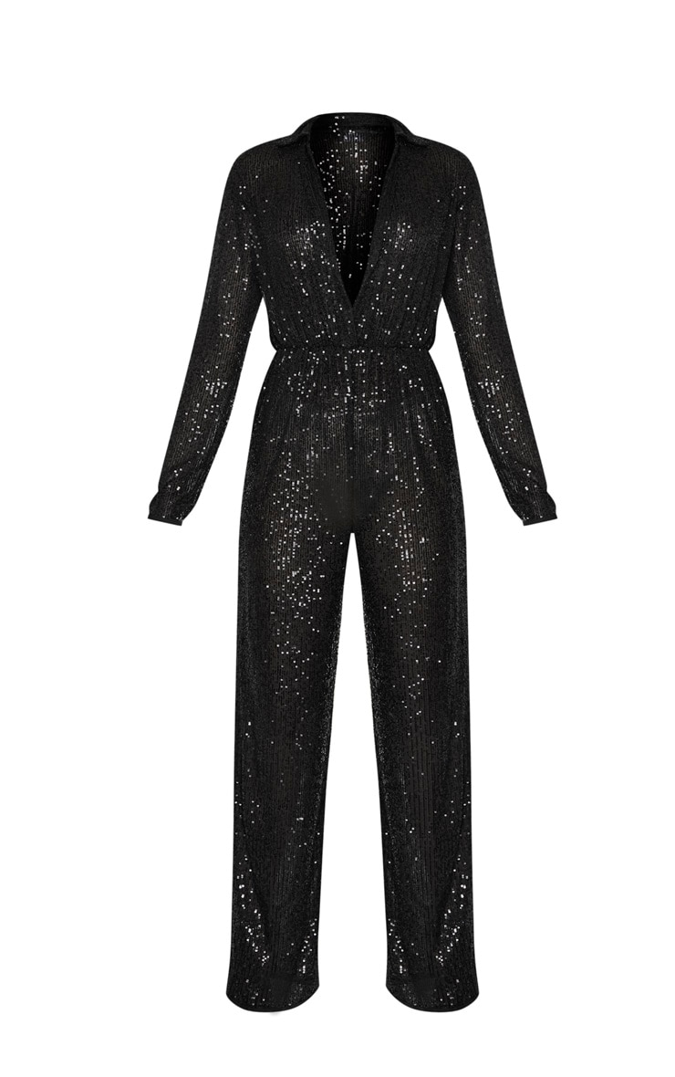 Black Sequin Collar Detail Long Sleeve Jumpsuit 3