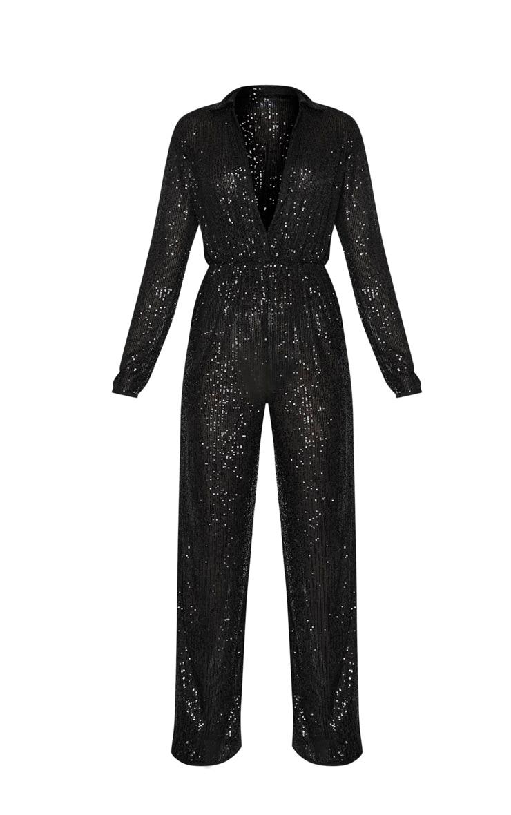 Black Sequin Collar Detail Long Sleeve Jumpsuit 3
