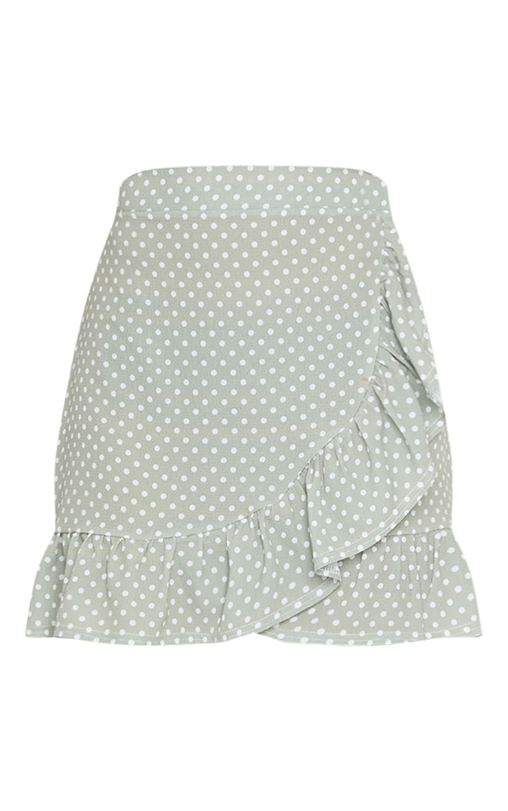 Sage Green Polka Dot Frill Hem Wrap Mini Skirt 6