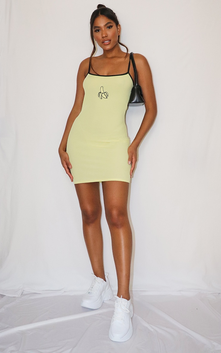 Yellow Banana Embroidery Contrast Straps Rib Bodycon Dress 3