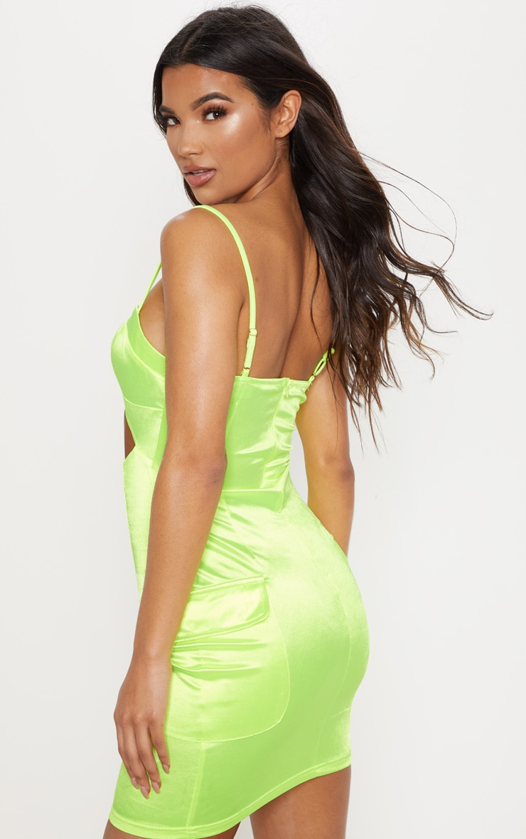 Neon Lime Satin Cut Out Pocket Detail Bodycon Dress 2