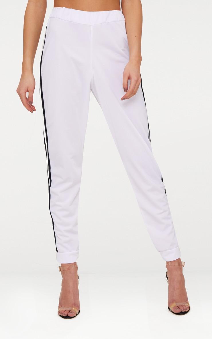 White Sport Stripe Joggers 2