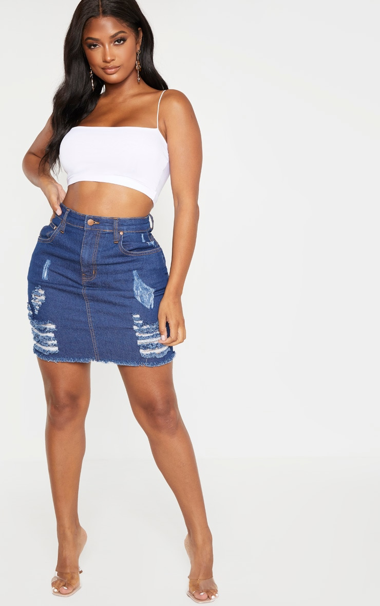 Shape Mid Wash High Waist Distressed Denim Skirt 5