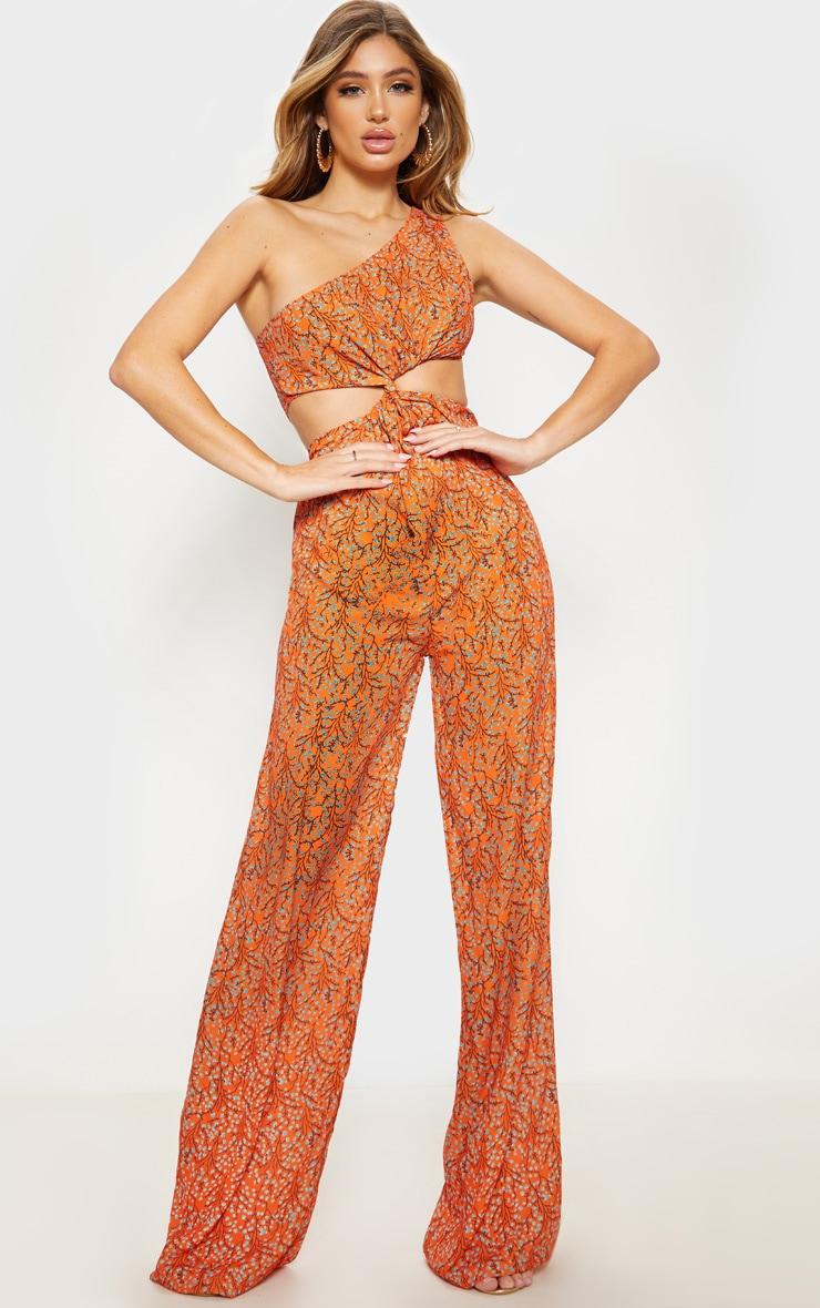 Orange Floral Cut Out Twist Detail One Shoulder Jumpsuit 1