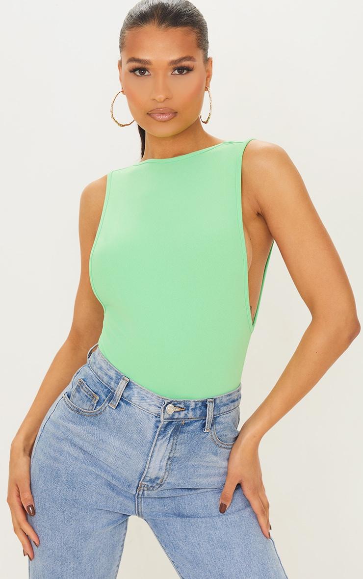 Apple Green Crepe Side Boob Thong Bodysuit 3