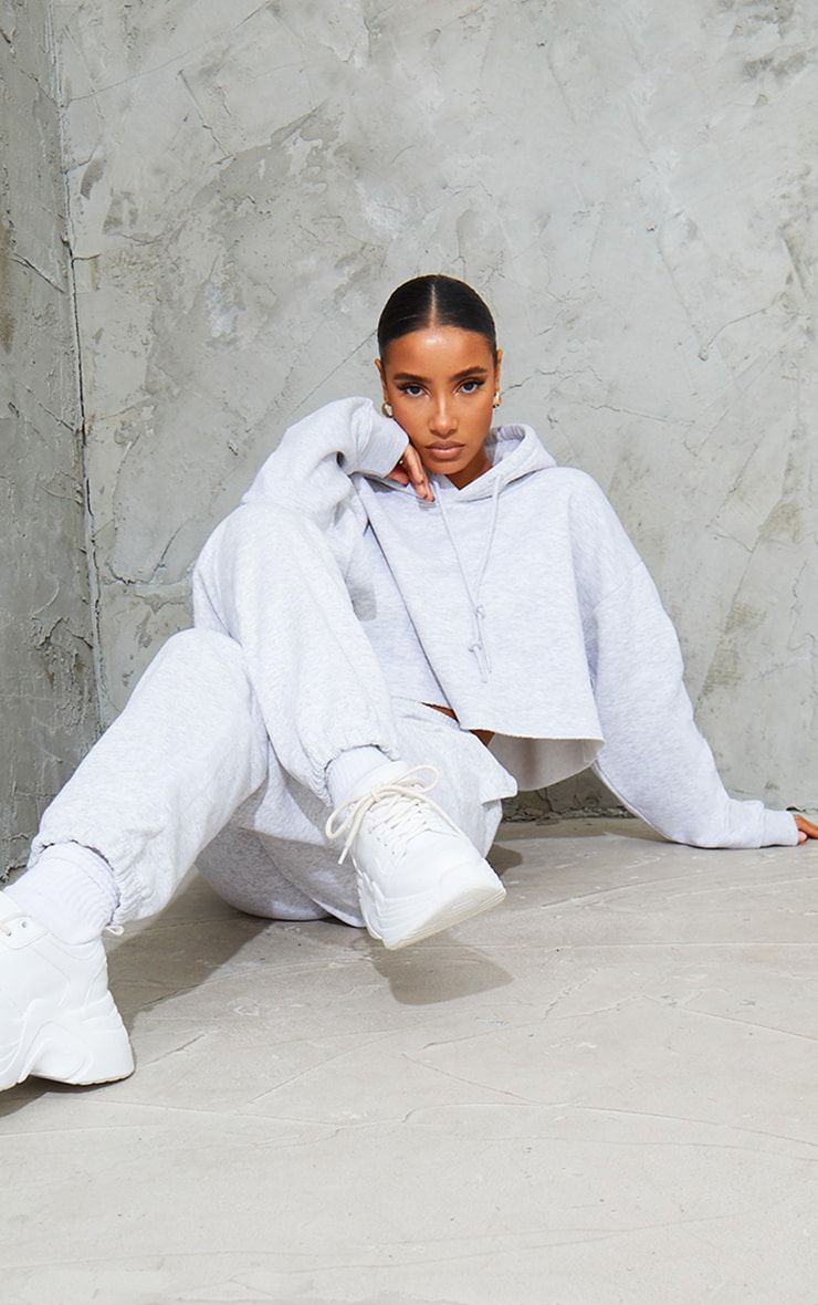 Grey Ultimate Oversized Crop Hoodie  3