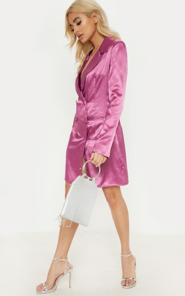 Petite Pink Satin Button Detail Blazer Dress 4