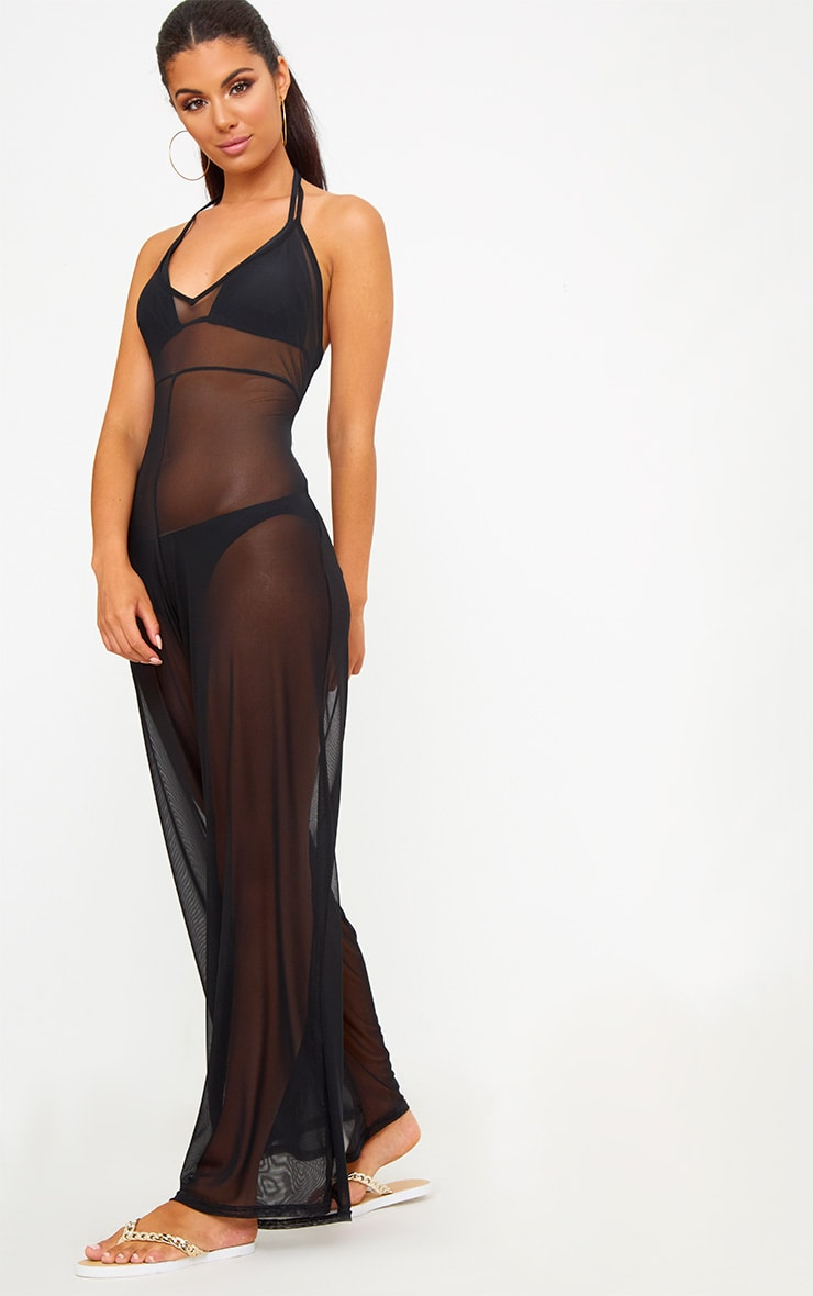 Black Mesh Ruched Jumpsuit 3