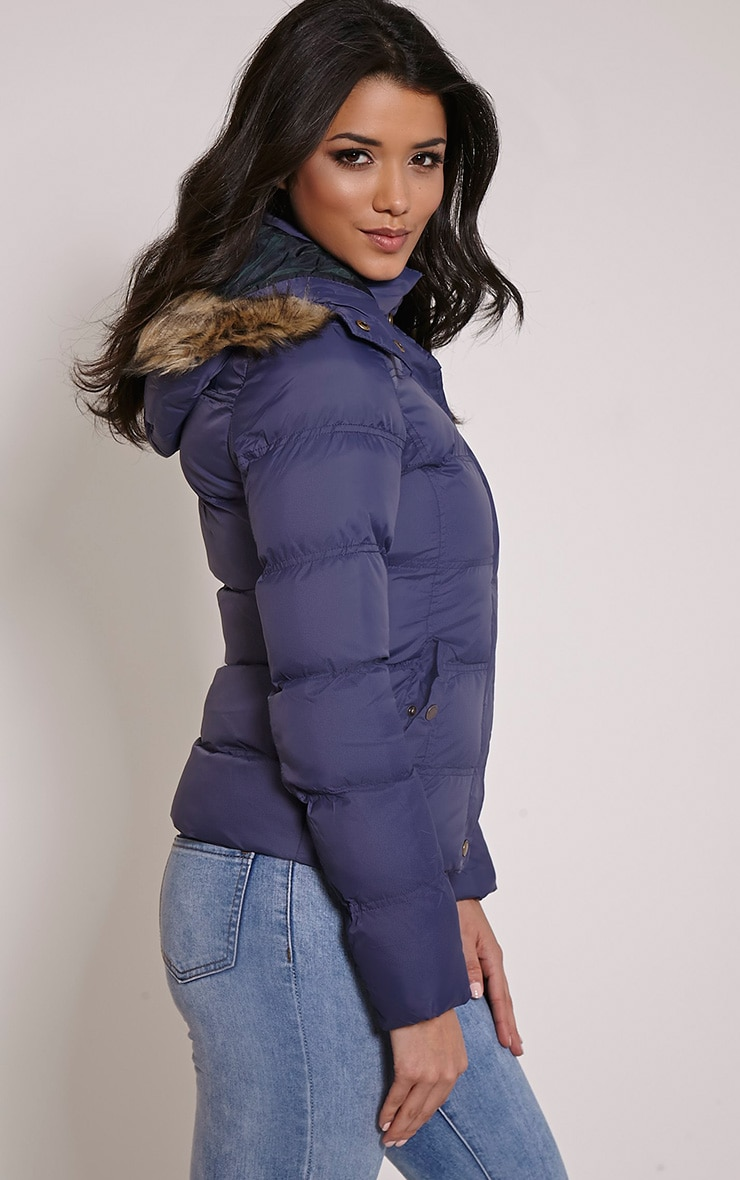 Victoria Navy Faux Fur Hooded Puffa Jacket 4