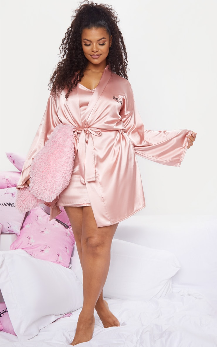 PRETTYLITTLETHING Plus Baby Pink Satin Robe 5