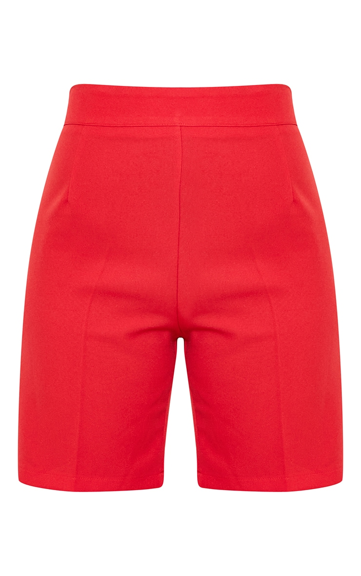 Red Woven Skinny Longline Shorts 6