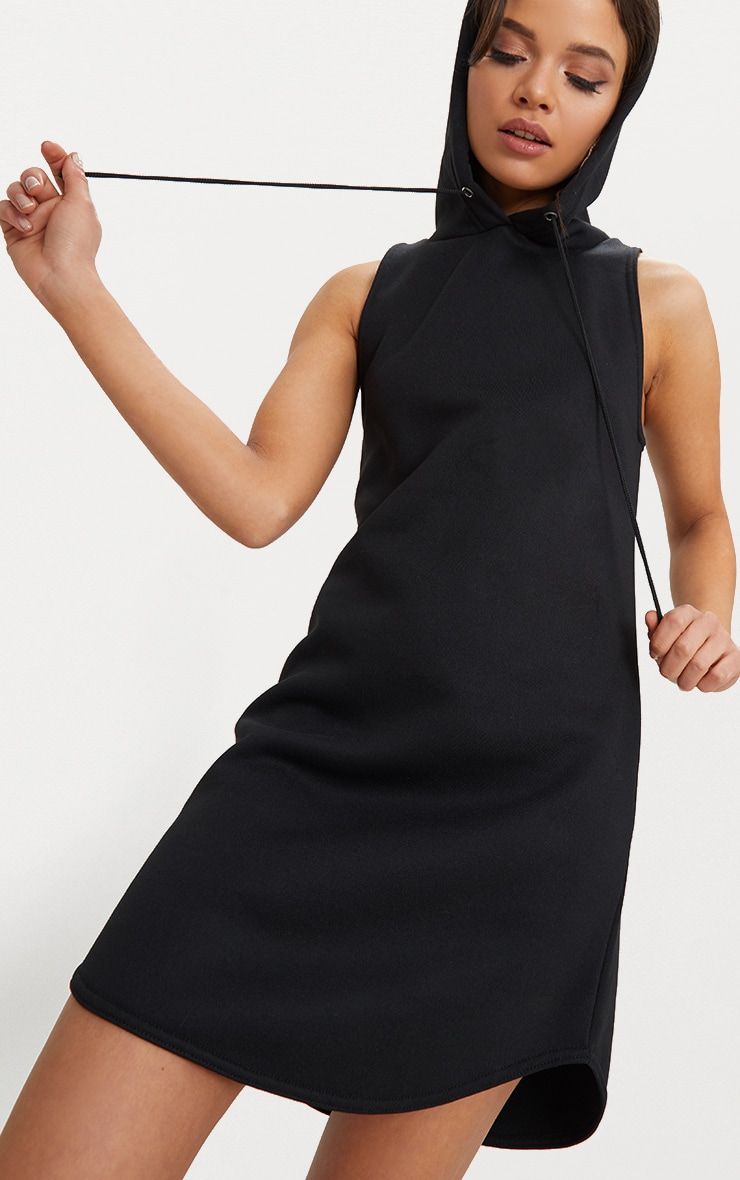 Black Hooded Sleeveless Jumper Dress 5