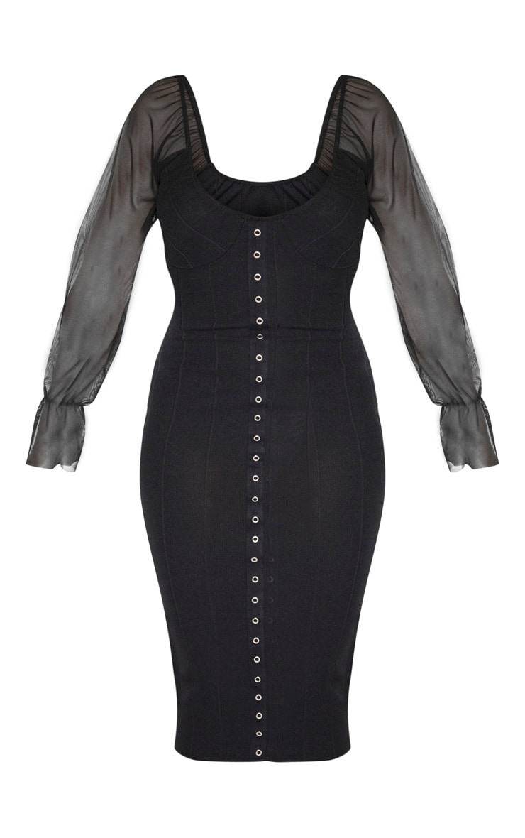Black Hook and Eye Mesh Sleeve Midi Dress 3