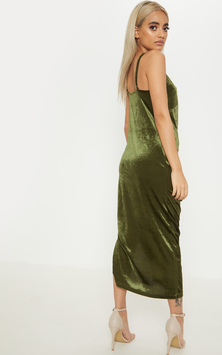 Petite Khaki Velvet Ruched Side Strappy Midi Dress 2