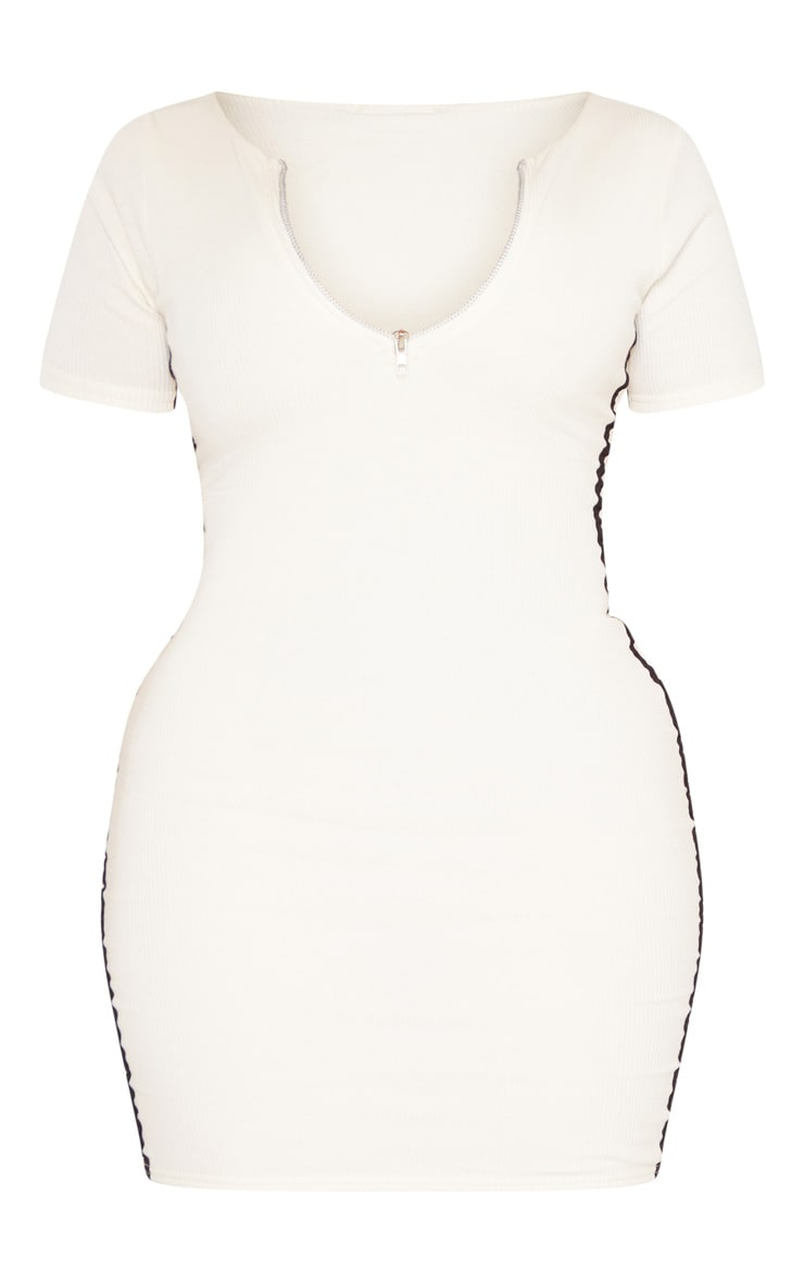 Shape Cream Ribbed Side Stripe Zip Neck Bodycon Dress 3