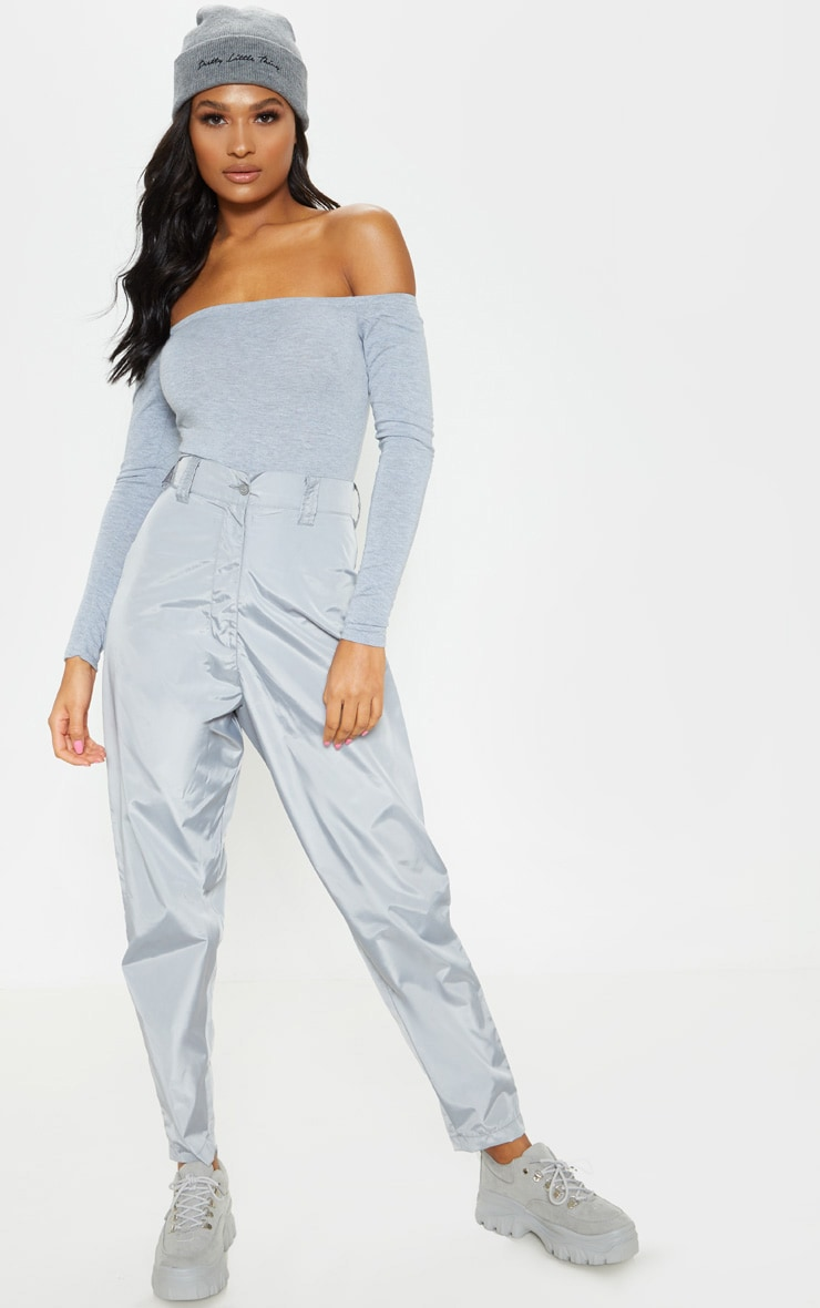 Basic Grey Marl Bardot Bodysuit 4