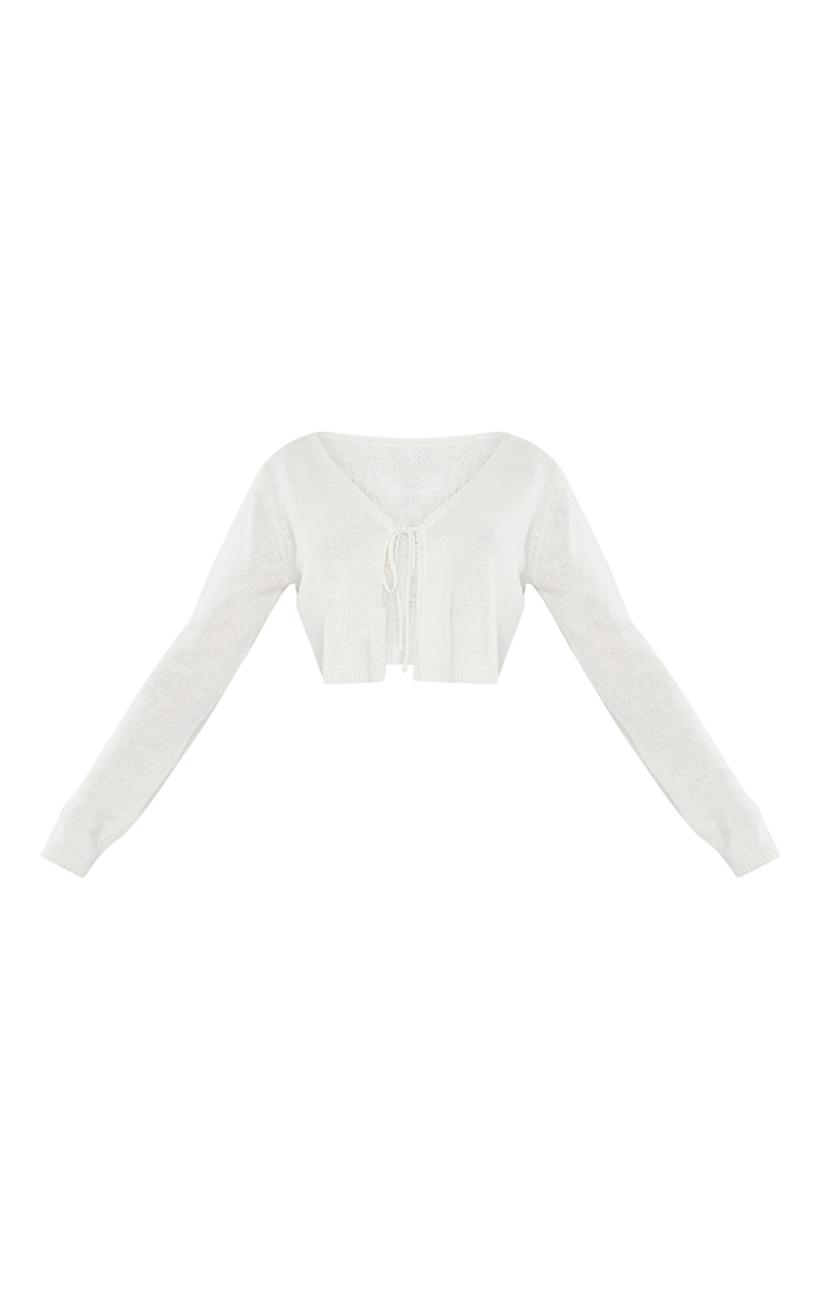 Cream Tie Front Knitted Cropped Cardigan 5