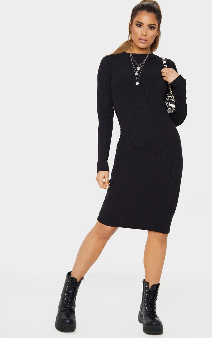 Tall Black Knitted Long Sleeve Midi Dress  1