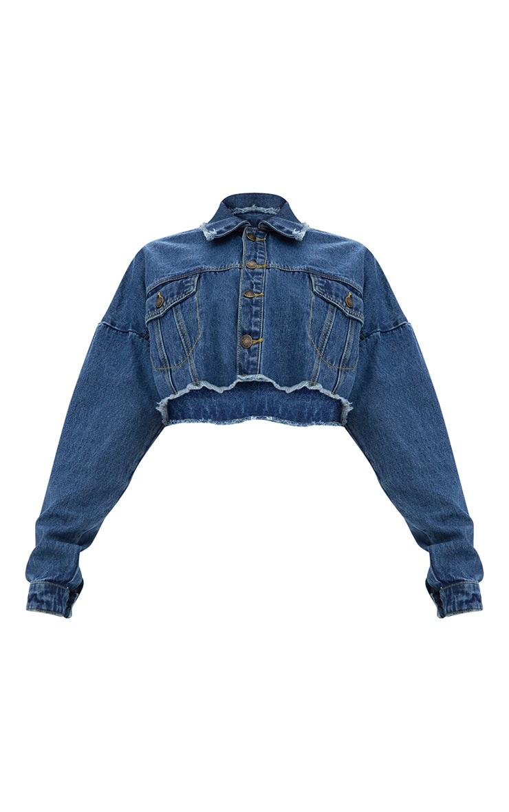 Dark Wash Cropped Denim Jacket 3